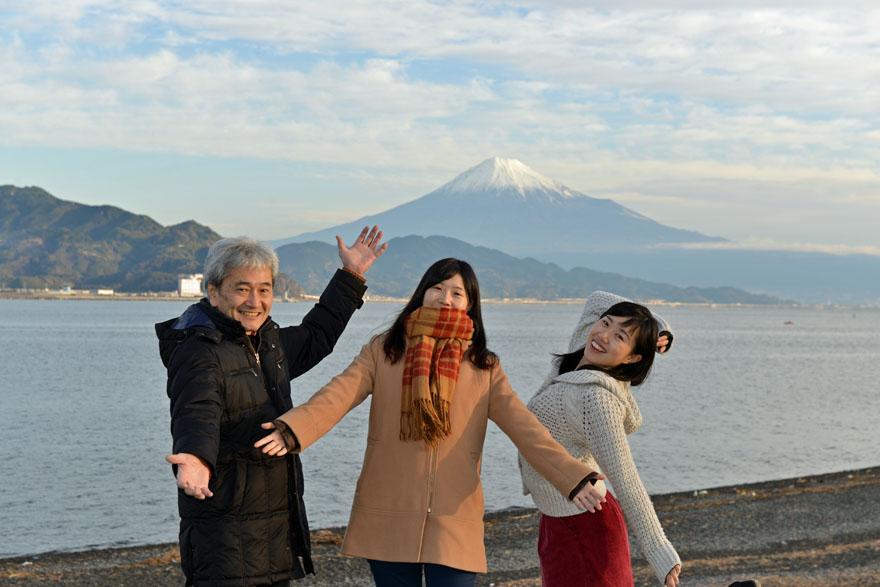 富士山と家族