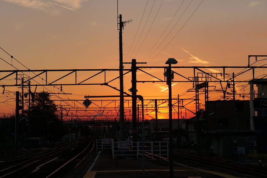 焼津駅から見た夕焼け
