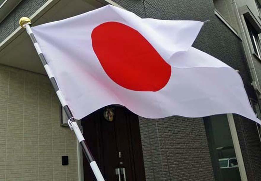 自宅玄関先に掲げてある国旗
